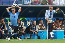 June 25, 2018 - Samara, Russia - Uruguay's head coach Oscar Tabarez (R) and Diego Laxalt (L) of Uruguay during the 2018 FIFA World Cup Russia group A match between Uruguay and Russia at Samara Arena on June 25, 2018 in Samara, Russia. (Credit Image: © Foto Olimpik/NurPhoto via ZUMA Press)