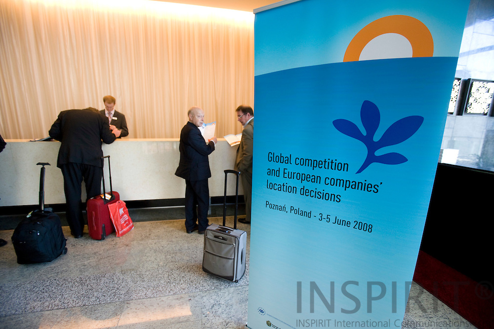 POZNAN - POLAND - 3 JUNE 2008 -- A sign with the logo for the Conference on Global competition and European companies' location decisions, in the reception of Hotel Andersia. Photo: Erik Luntang/INSPIRIT Photo