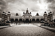 Mysore Palace on a cloudy day. The palace is located in Mysore in the state of Karnataka and was home to the Wodeyars (the royal family of Mysore).<br /> Mysore palace is now one of the most famous tourist attractions in India after Taj Mahal with more than 2.7 million visitors