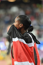 August 7, 2017 - London, United Kingdom - Faith Chepngetich KIPYEGON, Kenya,  celebrating after winning 1500 meter  final in London on August 7, 2017 at the 2017 IAAF World Championships athletics. (Credit Image: © Ulrik Pedersen/NurPhoto via ZUMA Press)