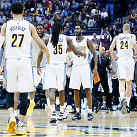 22 March 2017: Denver Nuggets guard Will Barton (5), Denver Nuggets center Roy Hibbert (34) congratulate Denver Nuggets forward Kenneth Faried (35) and Denver Nuggets guard Jamal Murray (27) during the Denver Nuggets 126-113 victory over the Cleveland Cavaliers, at the Pepsi Center, Denver, Colorado, USA.