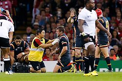 Wales Fly-Half Dan Biggar receives treatment after a knock - Mandatory byline: Rogan Thomson/JMP - 07966 386802 - 01/10/2015 - RUGBY UNION - Millennium Stadium - Cardiff, Wales - Wales v Fiji - Rugby World Cup 2015 Pool A.