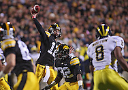 October 10, 2009: Iowa quarterback Ricky Stanzi (12) during the first half of the Iowa Hawkeyes' 30-28 win over the Michigan Wolverine's at Kinnick Stadium in Iowa City, Iowa on October 10, 2009.