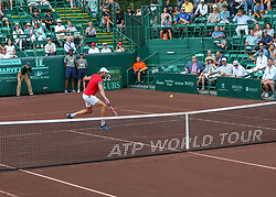 April 13, 2018 - Houston, TX, U.S. - HOUSTON, TX - APRIL 13:  Ivo Karlovic of Croatia hits a return in the match against Nick Kyrgios of Australia during the Quarterfinal round of the Men's Clay Court Championship on April 13, 2018 at River Oaks Country Club in Houston, Texas.  (Photo by Leslie Plaza Johnson/Icon Sportswire) (Credit Image: © Leslie Plaza Johnson/Icon SMI via ZUMA Press)