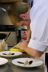 UK ENGLAND BERKSHIRE BRAY 28APR04 - Kitchen assistant Laurence Tottingham prepares a dish at The Fat Duck restaurant in the village of Bray, Berkshire. The Fat Duck recently won the second best award amongst the world's best restaurants and was awarded its third Michelin Star in January.....jre/Photo by Jiri Rezac for Bild am Sonntag....© Jiri Rezac 2004....Contact: +44 (0) 7050 110 417..Mobile:  +44 (0) 7801 337 683..Office:  +44 (0) 20 8968 9635....Email:   jiri@jirirezac.com..Web:    www.jirirezac.com....© All images Jiri Rezac 2004 - All rights reserved.