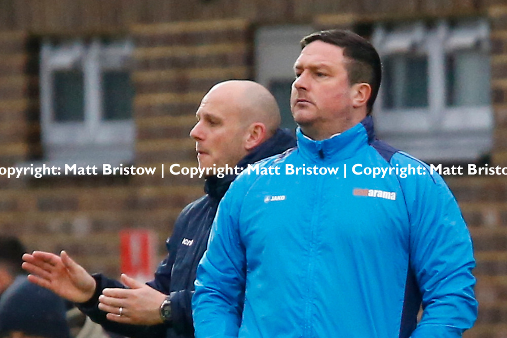 Guiseleys manager Paul Cox during the Vanorama National League match between Dover Athletic and Guiseley at Crabble Stadium, London, England on 27 January 2018. Photo by Matt Bristow.