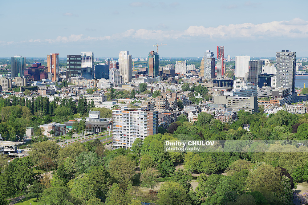 ROTTERDAM, NETHERLANDS - JUNE 02, 2013: Aerial view to the buildings of Rotterdam, Netherlands.