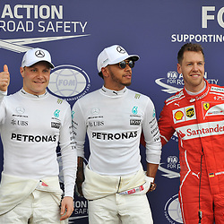 Pole position for Lewis Hamilton, Mercedes AMG Petronas F1 Team.<br /> 2nd for Valtteri Bottas, Mercedes AMG Petronas F1 Team.<br /> 3rd place for Sebastian Vettel, Scuderia Ferrari.<br /> <br /> Round 1 - 3rd day of the 2017 Formula 1 Rolex Australian Grand Prix at The circuit of Albert Park, Melbourne, Victoria on the 25th March 2017.<br /> Wayne Neal | SportPix.org.uk