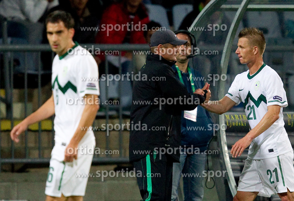 Matjaz Kek and Dare Vrsic of SLovenia during football match between National Teams of Slovenia and Serbia of UEFA Euro 2012 Qualifying Round in Group C on October 11, 2011, in Stadium Ljudski vrt, Maribor, Slovenia.  Slovenia defeated Serbia 1-0. (Photo by Vid Ponikvar / Sportida)