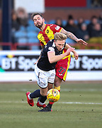 16th December 2017, Dens Park, Dundee, Scotland; Scottish Premier League football, Dundee versus Partick Thistle; Partick Thistle's Martin Woods battles for the ball with Dundee's A-Jay Leitch-Smith