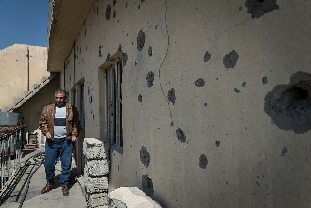 Safwan's home is pocked with shrapnel and bullet holes from the intense fighting between ISIS and Iraqi forces in the summer of 2017.