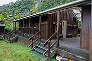Martins Bay Hut dormitory wing. Hollyford Track, Fiordland National Park, Southland region, South Island of New Zealand. We enjoyed an easy 3-day version of the Hollyford Track: Day 1: fly from Milford Sound to Martins Bay, walk to its oceanfront Hut, and see New Zealand fur seals. Day 2: jetboat on Lake McKerrow to Pyke River Confluence, hike to Hidden Falls Hut for overnight lodging. Day 3: tramp out to Hollyford Road end to our prearranged car shuttle. In 1990, UNESCO honored Te Wahipounamu - South West New Zealand as a World Heritage Area.