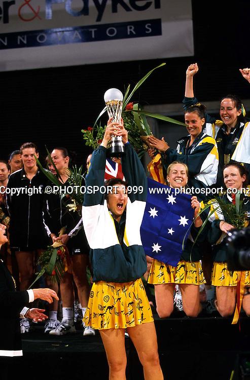 Vicki Wilson celebrates when Australia wins the Netball World Champs 1999. Photo: Photosport.co.nz