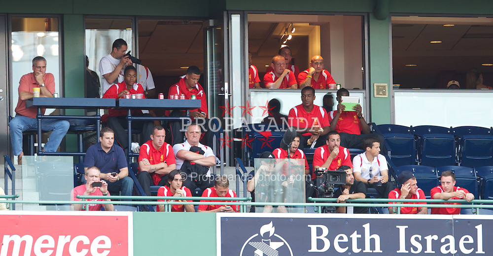 BOSTON, MA - Thursday, July 19, 2012: Liverpool's players visit Fenway Park to see the Boston Red Sox take on the Chicago White Sox during the side's North American pre-season tour. (Pic by David Rawcliffe/Propaganda)