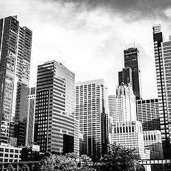 Chicago downtown black and white picture with Chicago city buildings and skyscrapers including Willis Tower (Sears Tower). Photo Copyright © 2012 Paul Velgos with All Rights Reserved.