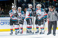 KELOWNA, CANADA - DECEMBER 27: Cal Foote #25, James Hilsendager #2, Nick Merkley #10, Rodney Southam #17 and Conner Bruggen-Cate #20 of the Kelowna Rockets celebrate a goal against the Kamloops Blazers on December 27, 2016 at Prospera Place in Kelowna, British Columbia, Canada.  (Photo by Marissa Baecker/Shoot the Breeze)  *** Local Caption ***