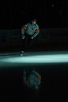 KELOWNA, BC - DECEMBER 27:  Referee Sean Raphael warms up on the ice at the Kelowna Rockets against the Kamloops Blazers at Prospera Place on December 27, 2019 in Kelowna, Canada. (Photo by Marissa Baecker/Shoot the Breeze)