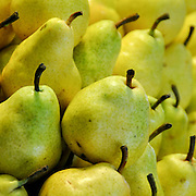 Pears at a Market Stall. Photographed in Budapest, Hungary