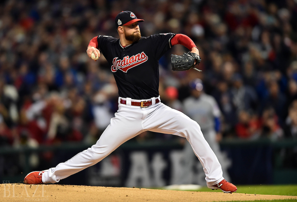 Oct 25, 2016; Cleveland, OH, USA; Cleveland Indians starting pitcher Corey Kluber throws a pitch against the Chicago Cubs in the first inning in game one of the 2016 World Series at Progressive Field. Mandatory Credit: Ken Blaze-USA TODAY Sports
