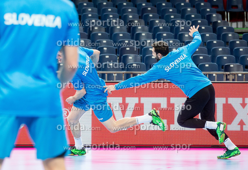 David Miklavcic of Slovenia and Dragan Gajic of Slovenia during practice session of Team Slovenia on Day 1 of Men's EHF EURO 2016, on January 15, 2016 in Centennial Hall, Wroclaw, Poland. Photo by Vid Ponikvar / Sportida