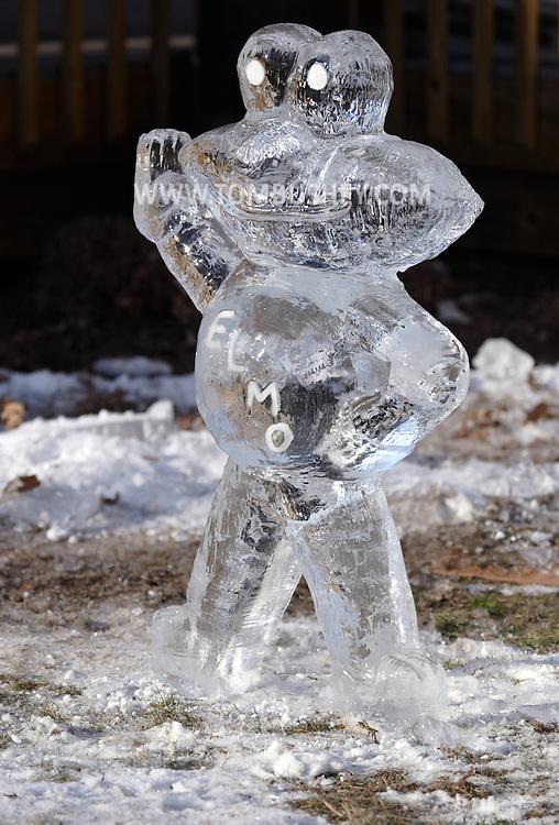 Wurtsboro, N.Y. - An ice sculpture of Elmo on display at the Wurtsboro Winterfest on Feb. 10, 2007.
