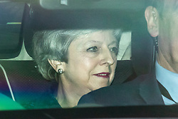 © Licensed to London News Pictures. 16/05/2019. London, UK. Prime Minister Theresa May arrives at Parliament to meet with the 1922 Executive Committee. Members of the 1922 Committee expect the Prime Minister to give a date for her resignation. Photo credit: Rob Pinney/LNP