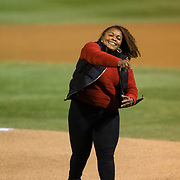 24 February 2018: The San Diego State Aztec baseball team competes in day two of the Tony Gwynn legacy tournament against #4 Arkansas. Alicia Gwynn throws out the ceremonial first pitch prior to the start of the game. The Aztecs dropped a close game to the Razorbacks 4-2. <br /> More game action at sdsuaztecphotos.com