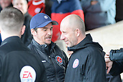 Fleetwood Town Manager Joey Barton and Accrington Stanley Manager John Coleman speak before the EFL Sky Bet League 1 match between Accrington Stanley and Fleetwood Town at the Fraser Eagle Stadium, Accrington, England on 30 March 2019.