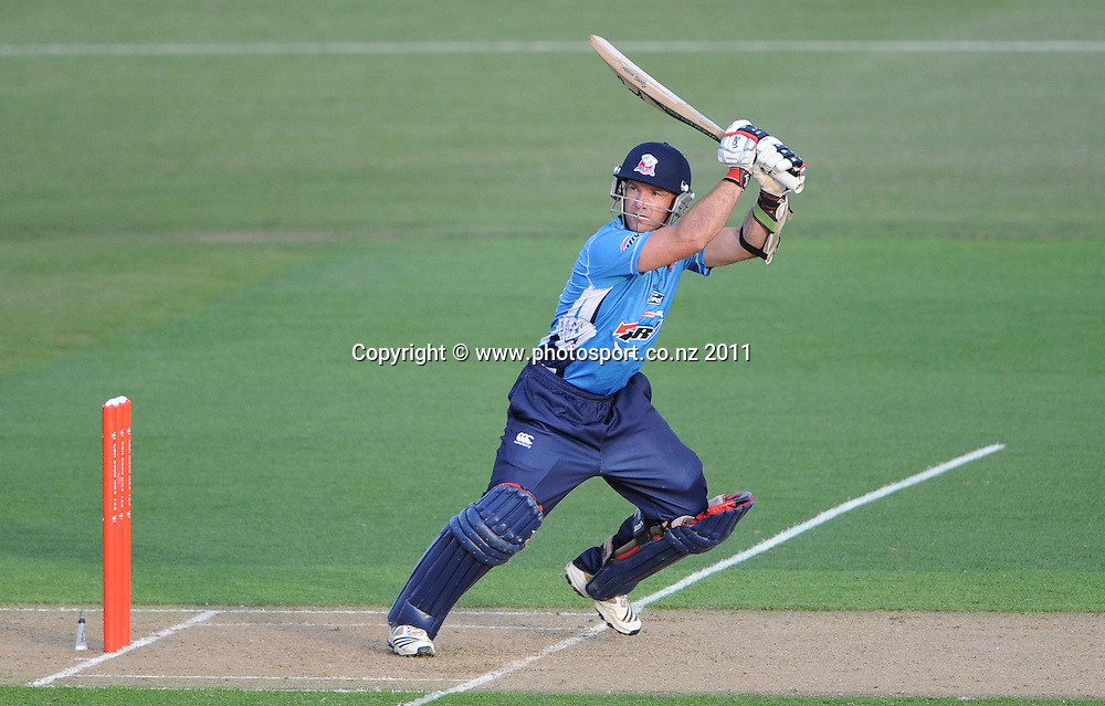 Auckland batsman and captain Gareth Hopkins in action during the HRV Twenty20 Cricket match between the Auckland Aces and Northern Knights at Colin Maiden Oval in Auckland on Monday 26 December 2011. Photo: Andrew Cornaga/Photosport.co.nz