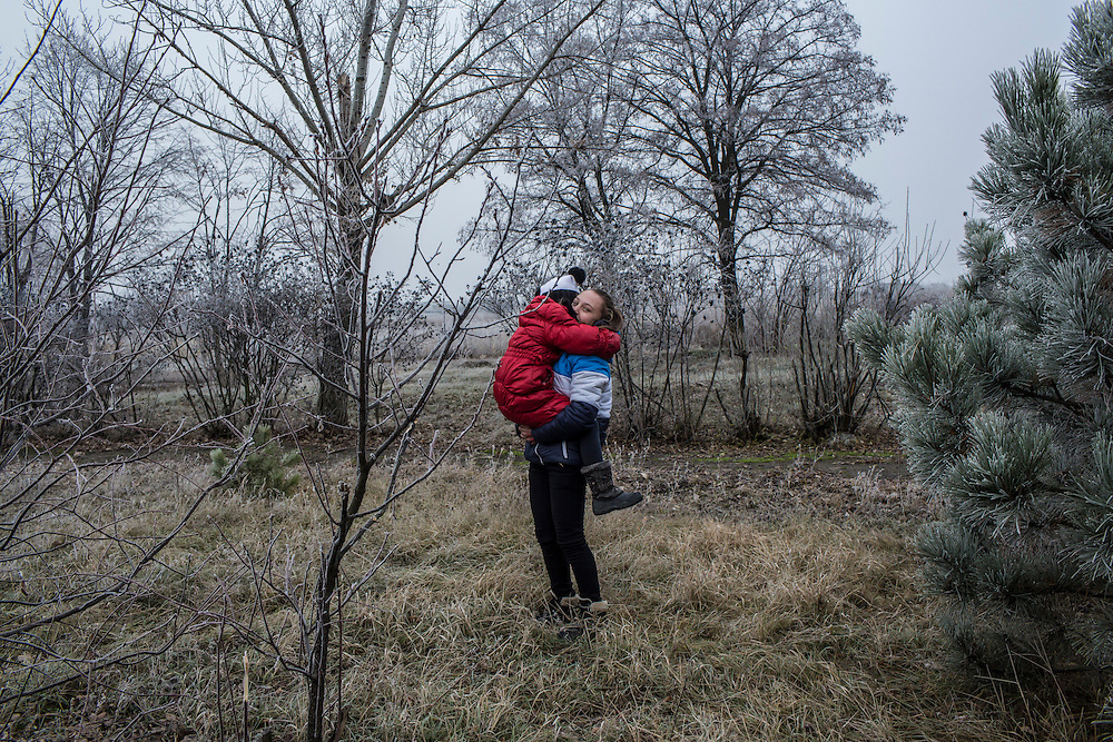 Students outside the local school on Friday, December 11, 2015 in Troitske, Ukraine.