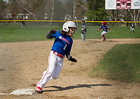 Laconia Rotary's Makenzie Laflamme rounds third towards home during opening day Major league action at Colby Field with the VFW team on Saturday morning.  (Karen Bobotas/for the Laconia Daily Sun)