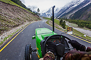 Jaibir Singh Virk driving the tractor on the Srinagar Leh Highway at Baltal, Kashmir...In May 2012, Fox Adventure Club set a record for the Longest Tractor Expedition, when three members covered 3623 kms across the western Himalayas in just 14 days on a 65hp Farm Tractor.