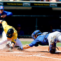 Mar 13, 2013; Bradenton, FL, USA; Toronto Blue Jays catcher Mike Nickeas (15) tags out Pittsburgh Pirates catcher Russell Martin (55) at home to end the bottom of the third inning of a spring training game at McKechnie Field. Mandatory Credit: Derick E. Hingle-USA TODAY Sports