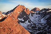 Marble Mountain in the Sangre mountains proves to be an excellent sunrise viewpoint to take in 3 Colorado Fourteener Peaks, Crestone Needle, Crestone Peak and Kit Carson Peak.