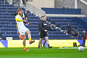 Liam Cooper of Leeds United (6) warming up during the EFL Sky Bet Championship match between Preston North End and Leeds United at Deepdale, Preston, England on 9 April 2019.