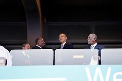 Dec. 10, 2013 - Dec. 10, 2013 - Memorial for Nelson Mandela at the  FNB stadium i Soweto, South Africa ..US president Barack Obama (Credit Image: © Bardell Andreas/Aftonbladet/IBL/ZUMAPRESS.com)