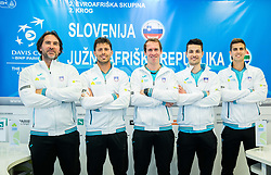 Blaz Trupej, Tomislav Ternar, Grega Zemlja, Mike Urbanija and Tilen Zitnik during press conference of Slovenian National Men Tennis Team before Davis Cup against South Africa Republic, on March 30, 2017 in Ljubljana, Slovenia. Photo by Vid Ponikvar / Sportida