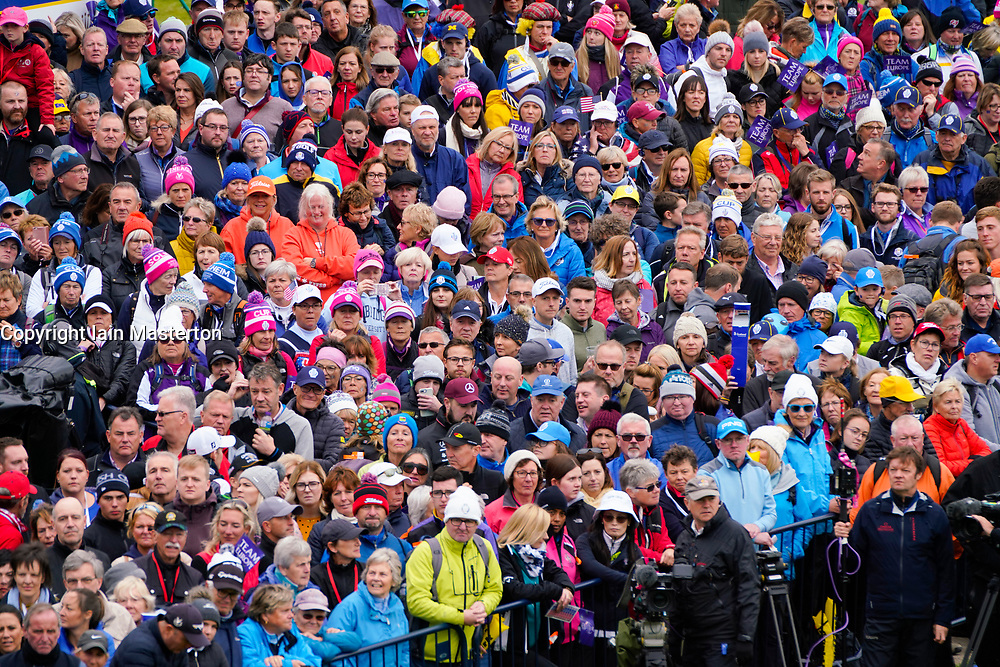 Solheim Cup 2019 at Centenary Course at Gleneagles in Scotland, UK. Large crowd of spectators wait beside the 1st tee on Sunday morning.