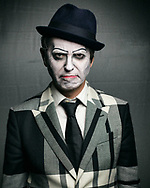 Adrian Stout, bass player and a member of British music band The Tiger Lillies poses for a portrait.