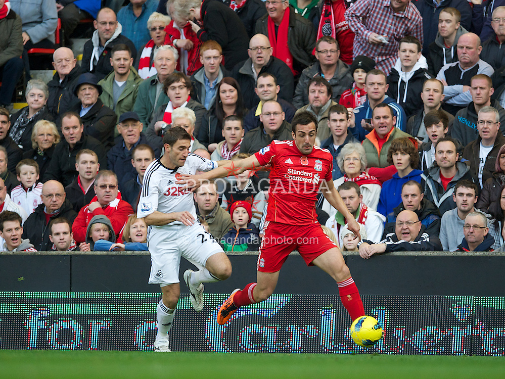 LIVERPOOL, ENGLAND - Saturday, November 5, 2011: Liverpool's Jose Enrique in action against Swansea City during the Premiership match at Anfield. (Pic by David Rawcliffe/Propaganda)