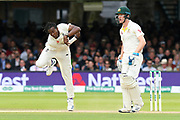 Jofra Archer of England bowling with Cameron Bancroft of Australia watching on during the International Test Match 2019 match between England and Australia at Lord's Cricket Ground, St John's Wood, United Kingdom on 18 August 2019.