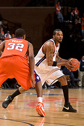 Virginia forward Adrian Joseph (30) is guarded by Clemson forward Sam Perry (32).  The Virginia Cavaliers men's basketball team fell the Clemson Tigers at 82-51 the John Paul Jones Arena in Charlottesville, VA on February 7, 2008.