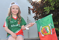 Mayo fan Grace Cunningham from Ballina getting ready for the Connacht Championship semi-final against Galway.<br /> Pic Conor McKeown