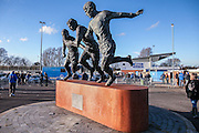 Stadium shot with statue dedicated to Geoff Hurst, Jimmy Armfield and Simone Perrotta during the The FA Cup match between Curzon Ashton and AFC Wimbledon at Tameside Stadium, Ashton Under Lyne, United Kingdom on 4 December 2016. Photo by Simon Davies.
