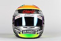 The helmet of Sergio Perez (MEX) Sahara Force India F1.<br /> Sahara Force India F1 Team Livery Reveal, Soumaya Museum, Mexico City, Mexico. Wednesday 21st January 2015.