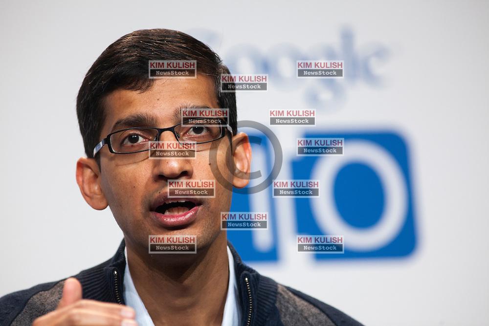 Sundar Pichai, Sr VP at Google, attends a press conference on the new Google Chomebook at the Google I/O developer's conference in San Francisco, California.