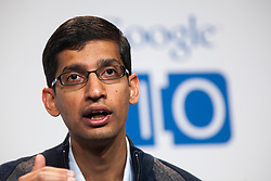 Sundar Pichai, Sr VP at Google, attends a press conference on the new Google Chomebook at the Google I/O developer's conference in San Francisco, California.