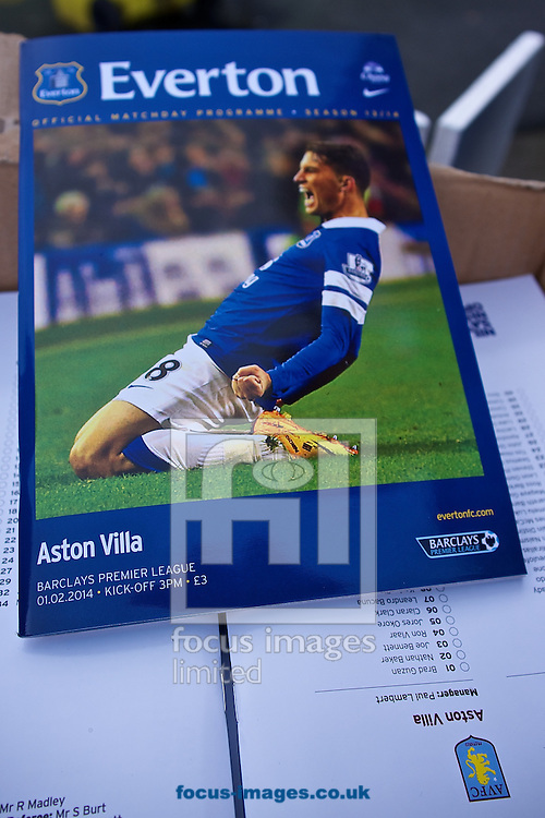 Picture by Ian Wadkins/Focus Images Ltd +44 7877 568959<br /> 01/02/2014<br /> General view of the exterior of the stadium showing match programme on sale ahead of the Barclays Premier League match at Goodison Park, Liverpool.