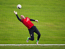 CARDIFF, WALES - Sunday, October 13, 2013: Wales' goalkeeper Boaz Myhill during a training session at the Vale of Glamorgan ahead of the 2014 FIFA World Cup Brazil Qualifying Group A match against Belgium. (Pic by David Rawcliffe/Propaganda)