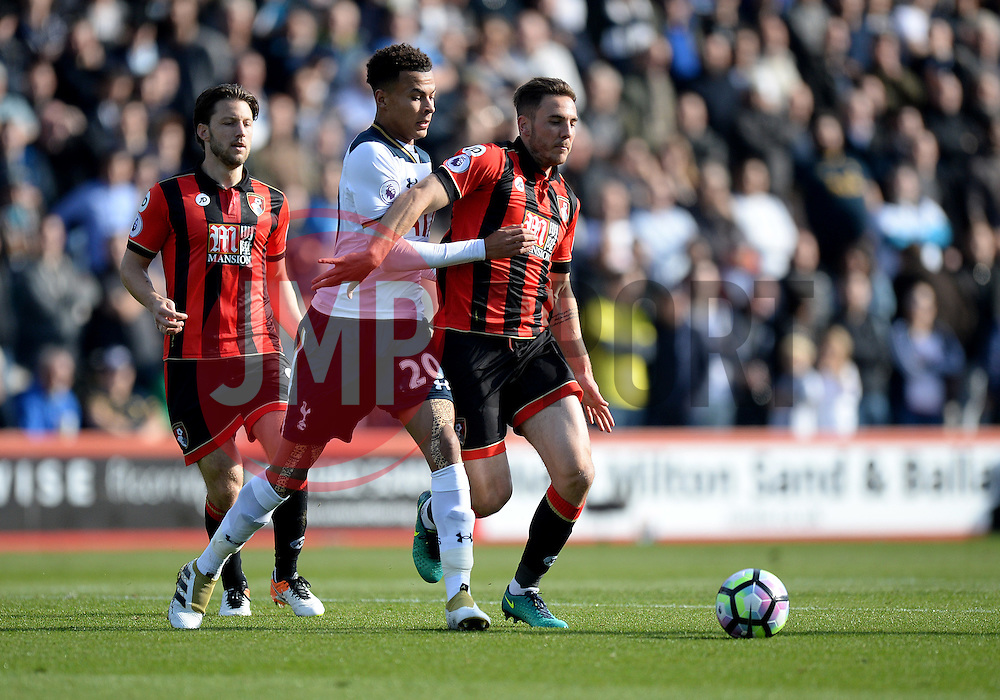 Dele Alli of Tottenham Hotspur battles for the ball with Dan Gosling of Bournemouth - Mandatory by-line: Alex James/JMP - 22/10/2016 - FOOTBALL - Vitality Stadium - Bournemouth, England - AFC Bournemouth v Tottenham Hotspur - Premier League
